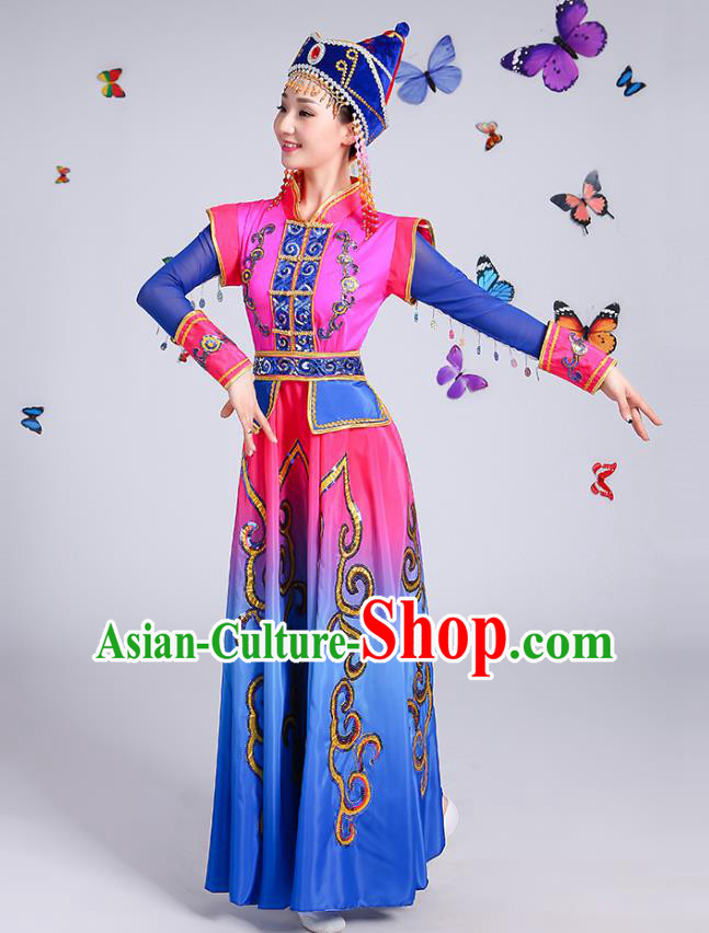 Traditional Chinese Mongol Nationality Dance Costume, Mongolian Female Folk Dance Embroidery Dress Clothing for Women
