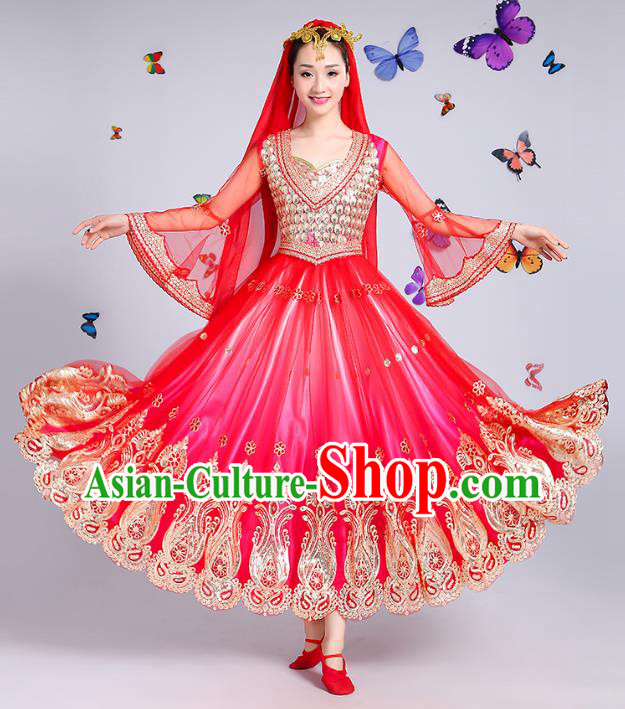 Traditional Chinese Uyghur Nationality Dance Costume, Chinese Uigurian Minority Dance Rosy Dress Clothing for Women