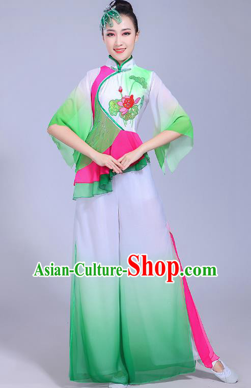 Traditional Chinese Classical Umbrella Dance Costume, China Yangko Folk Dance Yangge Green Clothing for Women