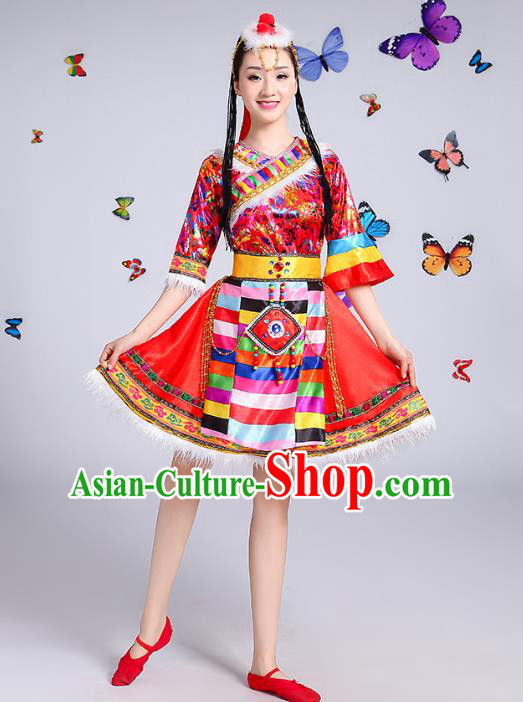 Chinese Traditional Mongol Nationality Dance Costume, Mongols Folk Dance Ethnic Minority Embroidery Red Short Dress Clothing for Women