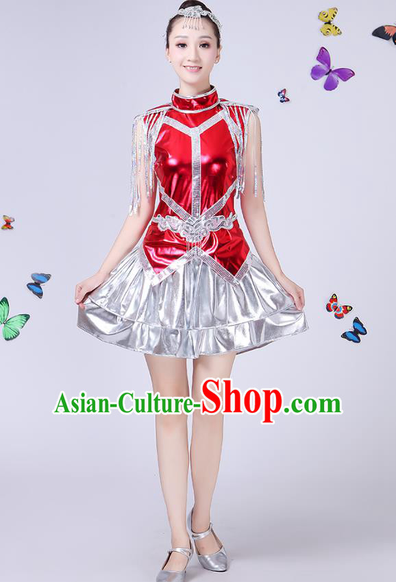 Traditional Chinese Modern Dance Opening Dance Jazz Dance Clothing Folk Dance Chorus Red Costume for Women