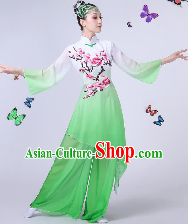 Traditional Chinese Modern Dance Opening Dance Clothing Chorus Folk Fan Dance Embroidered Green Dress for Women