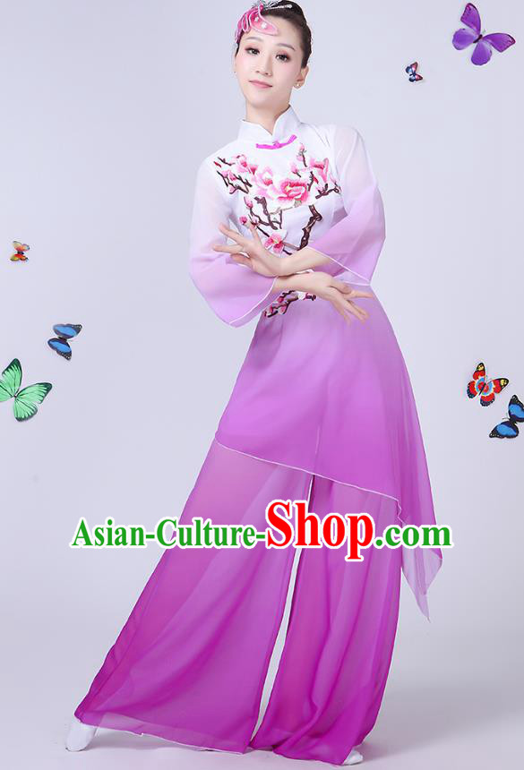 Traditional Chinese Modern Dance Opening Dance Clothing Chorus Folk Fan Dance Embroidered Purple Dress for Women