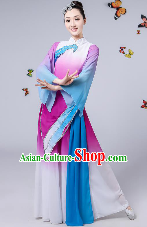 Traditional Chinese Classical Umbrella Dance Purple Costume, China Yangko Folk Fan Dance Clothing for Women