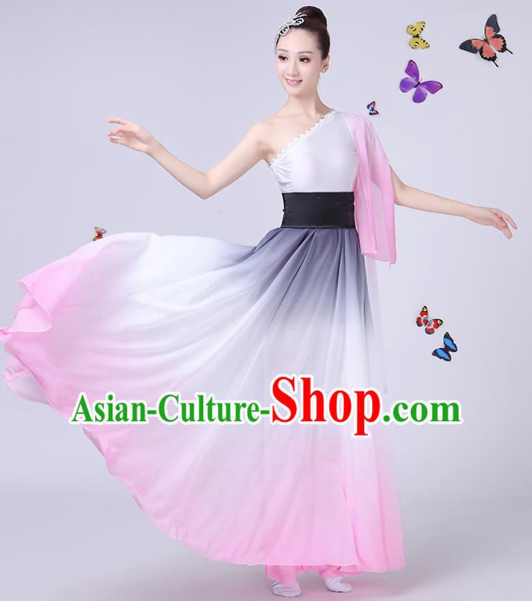 Traditional Chinese Modern Dance Opening Dance Clothing Chorus Folk Umbrella Dance Single Sleeve Dress for Women