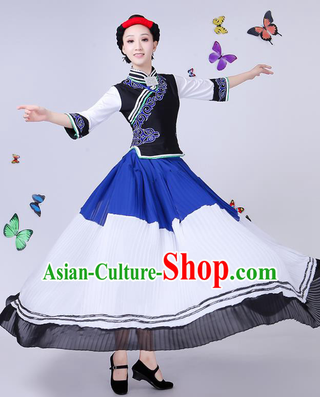 Traditional Chinese Yi Nationality Dance Costume, Chinese Minority Hmong Folk Dance Torch Festival Pleated Skirt Embroidery Costume for Women