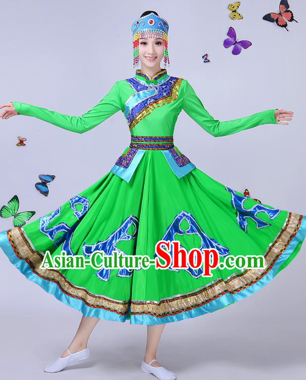 Traditional Chinese Mongol Nationality Dance Costume, Chinese Mongolian Minority Folk Dance Embroidery Green Dress for Women
