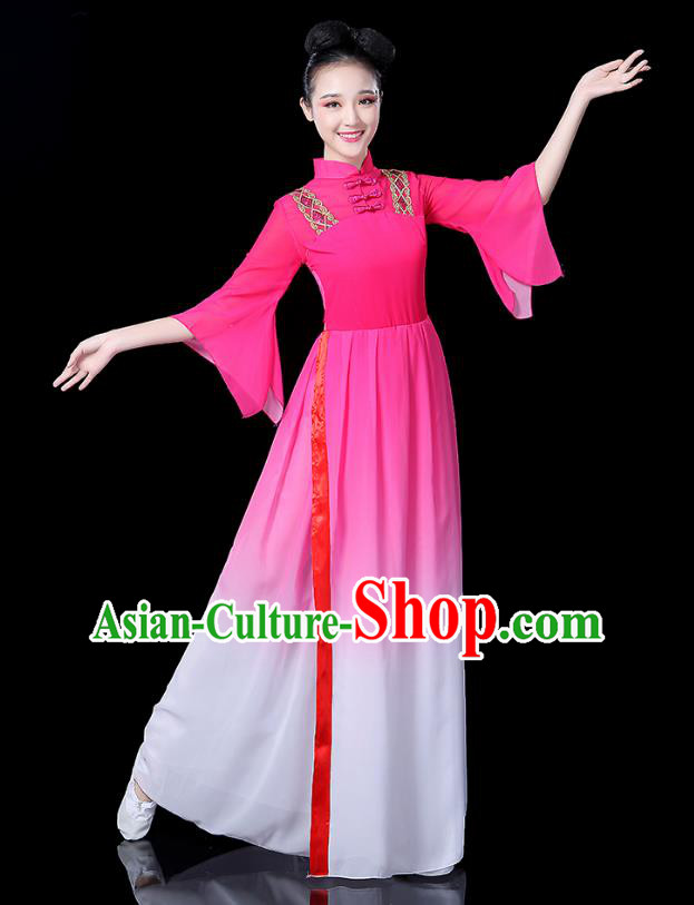 Traditional Chinese Classical Dance Costume Pink Dress, China Yangko Folk Umbrella Dance Clothing for Women