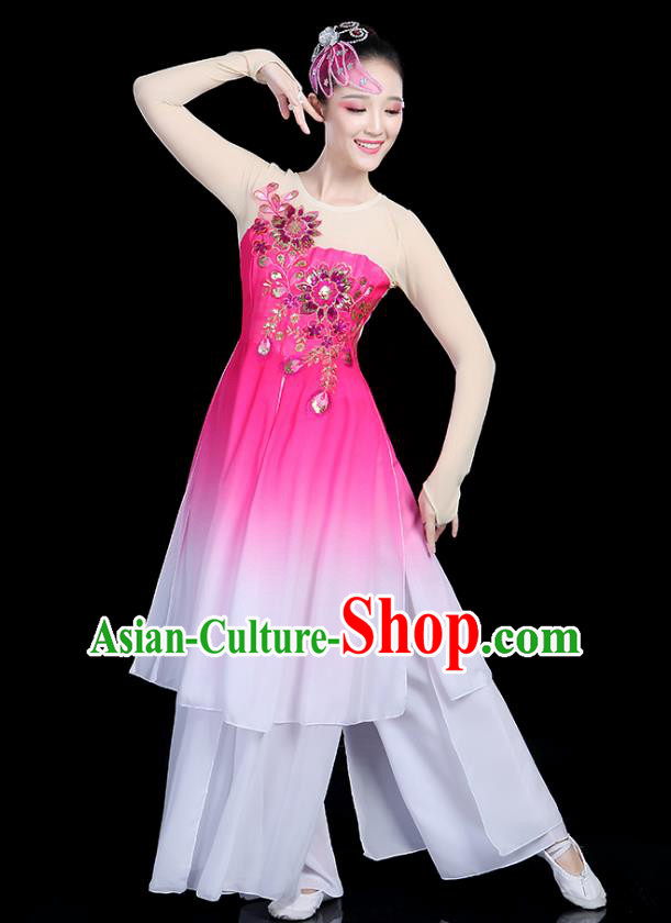 Traditional Chinese Classical Dance Pink Uniform Fan Dance Costume, China Yangko Folk Umbrella Dance Clothing for Women