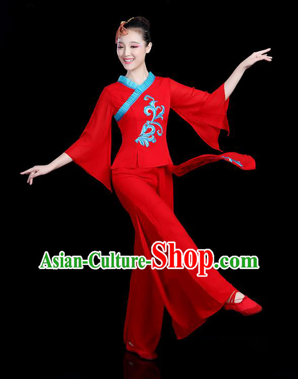 Traditional Chinese Classical Dance Red Uniform Fan Dance Costume, China Yangko Folk Umbrella Dance Clothing for Women