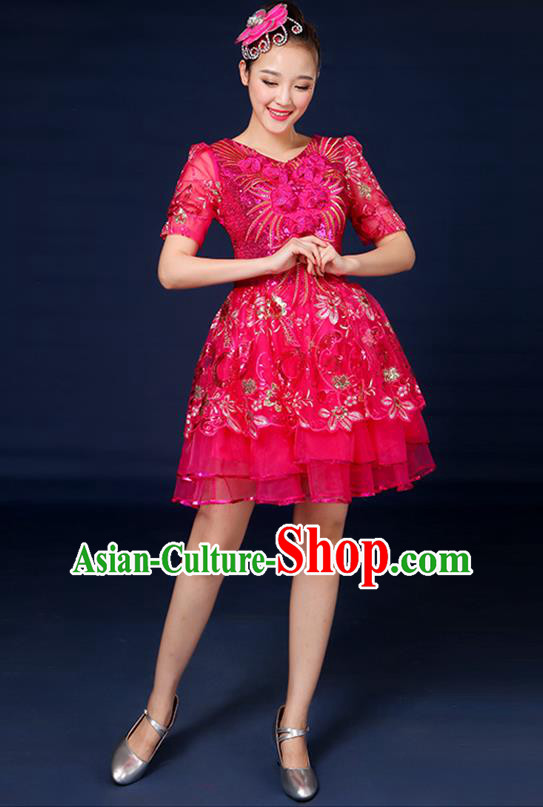 Traditional Chinese Modern Dance Opening Dance Clothing Chorus Classical Dance Rosy Bubble Dress for Women