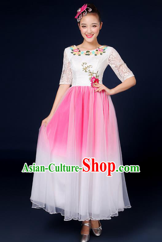 Traditional Chinese Modern Dance Opening Dance Clothing Chorus Classical Dance Lace Pink Dress for Women