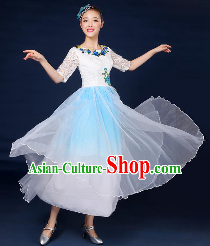 Traditional Chinese Modern Dance Opening Dance Clothing Chorus Classical Dance Lace Blue Dress for Women