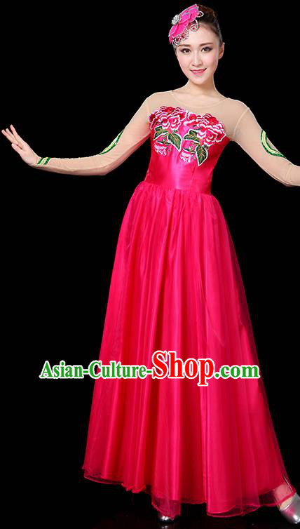 Traditional Chinese Modern Dance Opening Dance Clothing Chorus Classical Dance Embroidered Rosy Long Dress for Women