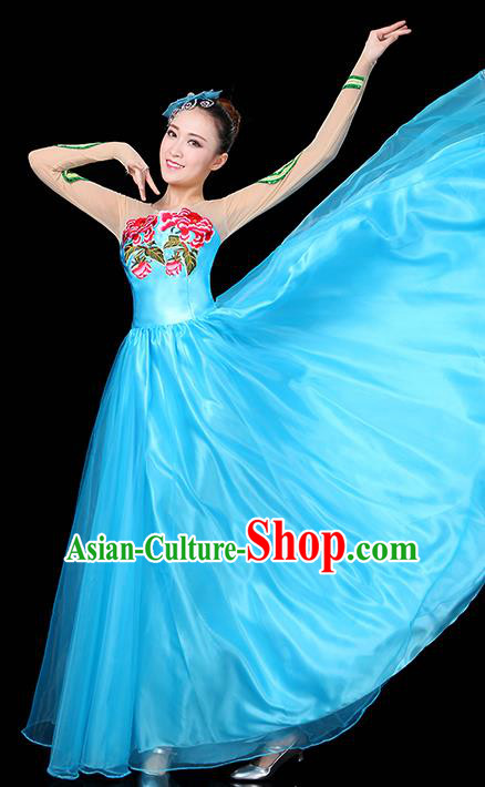 Traditional Chinese Modern Dance Opening Dance Clothing Chorus Classical Dance Embroidered Blue Long Dress for Women