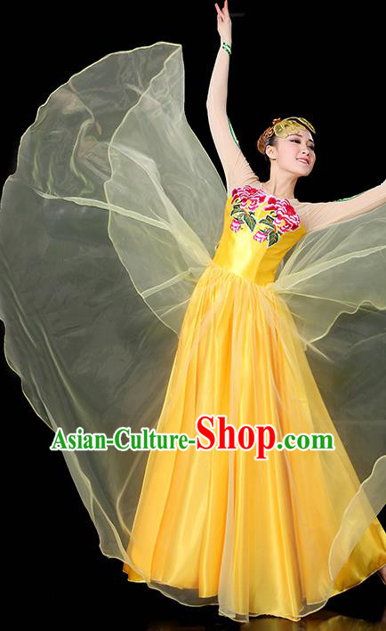 Traditional Chinese Modern Dance Opening Dance Clothing Chorus Classical Dance Embroidered Yellow Long Dress for Women