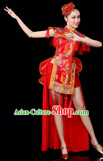 Traditional Chinese Modern Dance Opening Jazz Dance Clothing Chorus Classical Dance Embroidered Red Costume for Women