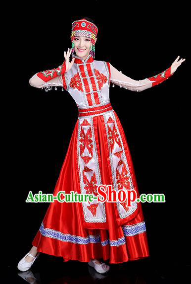 Traditional Chinese Mongol Nationality Dance Costume, Chinese Mongolian Minority Folk Dance Embroidery Red Dress Clothing for Women