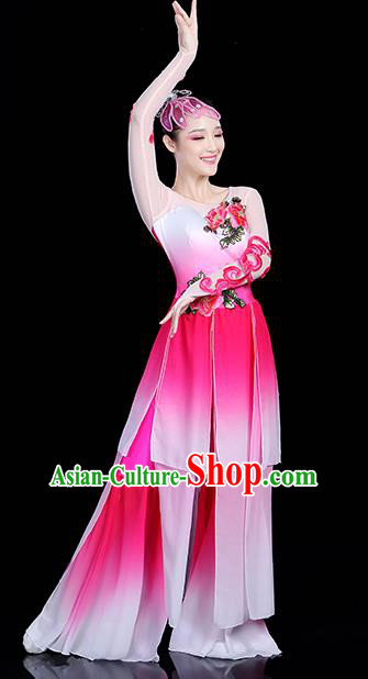 Traditional Chinese Yangge Fan Dance Pink Costume, China Classical Folk Dance Yangko Drum Dance Clothing for Women
