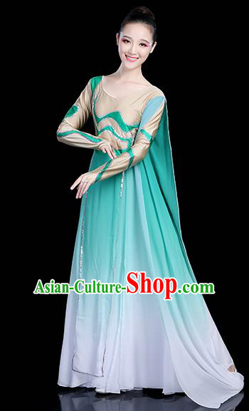 Traditional Chinese Modern Dance Opening Dance Clothing Chorus Competition Green Long Dress for Women