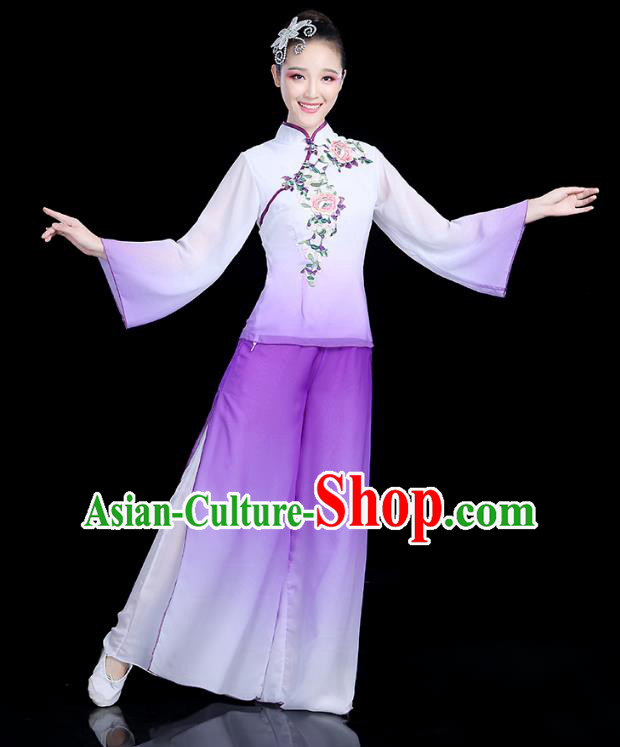 Traditional Chinese Yangge Fan Dance Embroidered Purple Costume, China Classical Folk Dance Yangko Umbrella Dance Clothing for Women
