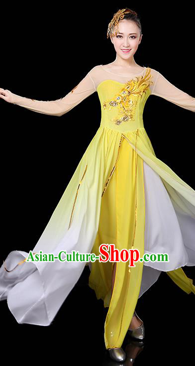 Traditional Chinese Modern Dance Opening Dance Clothing Chorus Yangko Dance Yellow Long Dress for Women