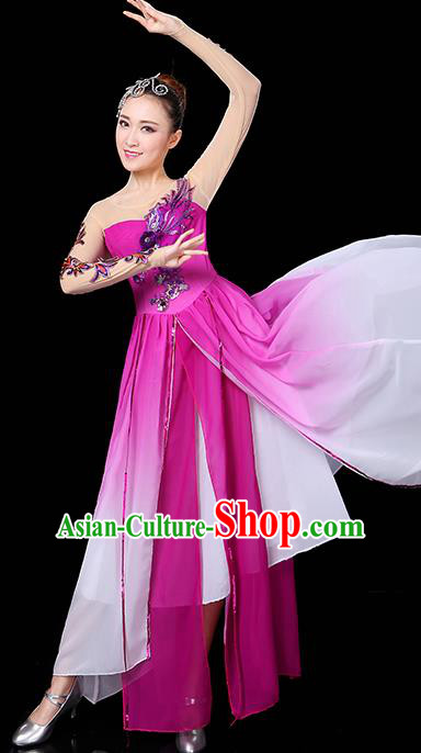 Traditional Chinese Modern Dance Opening Dance Clothing Chorus Yangko Dance Rosy Long Dress for Women
