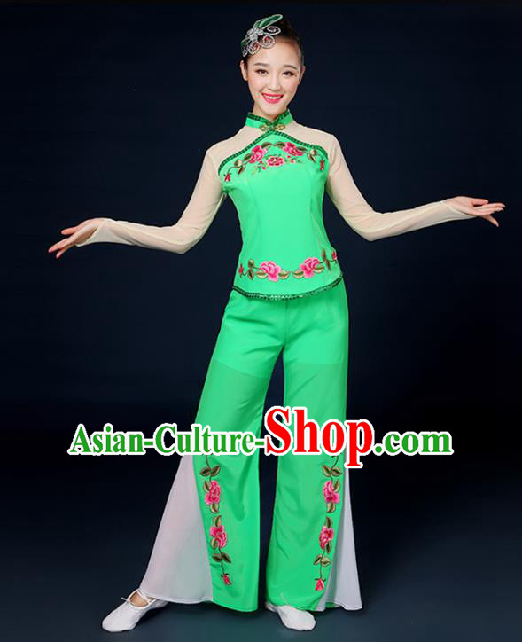 Traditional Chinese Yangge Fan Dance Embroidered Peony Green Uniform, China Classical Folk Yangko Drum Dance Clothing for Women