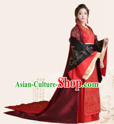 Traditional Chinese Han Dynasty Imperial Empress Wedding Costume, China Ancient Bride Hanfu Trailing Embroidered Clothing for Women