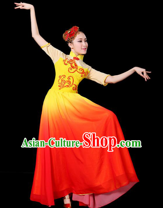 Traditional Chinese Modern Dance Opening Jazz Dance Clothing Chorus Classical Dance Big Swing Dress for Women