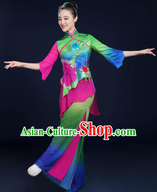 Traditional Chinese Folk Yangge Fan Classical Dance Lotus Green Uniform, China Yangko Drum Dance Clothing for Women