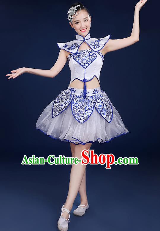 Traditional Chinese Modern Dance Opening Dance Clothing Chorus Classical Dance Short Veil Dress for Women