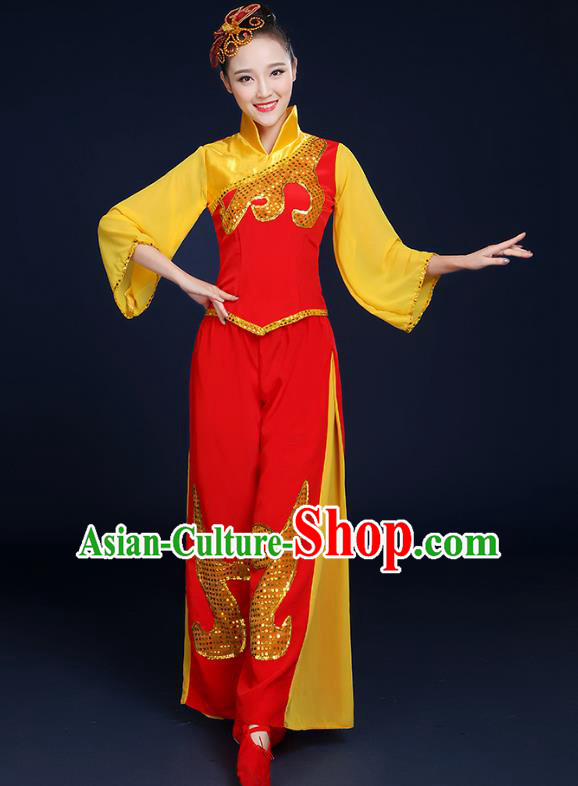 Traditional Chinese Folk Yangge Fan Classical Dance Uniform, China Yangko Drum Dance Clothing for Women