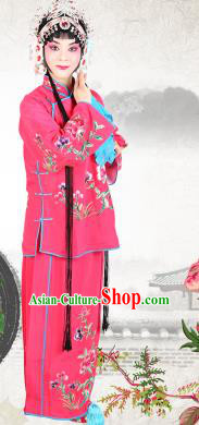 Chinese Beijing Opera Actress Embroidered Peony Costume, China Peking Opera Servant Girl Embroidery Rosy Clothing