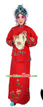 Chinese Beijing Opera Actress Embroidered Peony Costume, China Peking Opera Servant Girl Embroidery Red Clothing