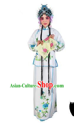 Chinese Beijing Opera Servant Girl Embroidered White Costume, China Peking Opera Actress Embroidery Clothing
