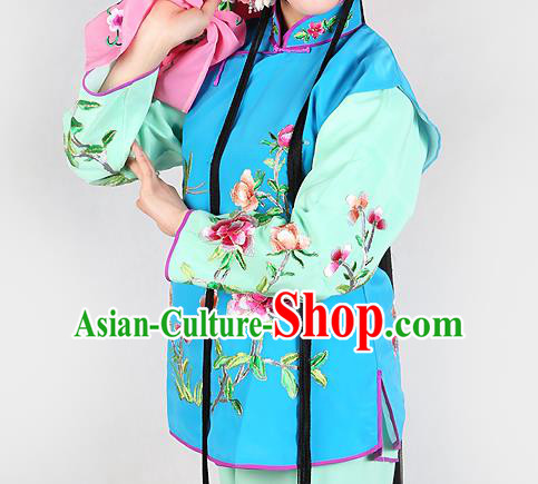 Chinese Beijing Opera Servant Girl Costume Embroidered Blue Vest, China Peking Opera Actress Embroidery Waistcoat Clothing