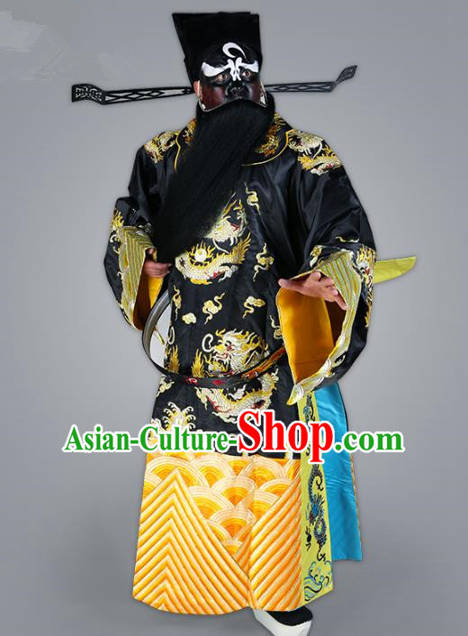 Chinese Beijing Opera Bao Zheng Costume Embroidered Robe, China Peking Opera Prime Minister Embroidery Gwanbok Clothing