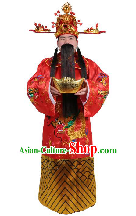 Chinese Beijing Opera God of Wealth Costume Embroidered Robe, China Peking Opera Embroidery Gwanbok Clothing