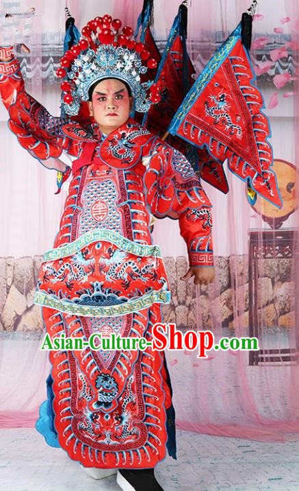 Chinese Beijing Opera General Costume Red Embroidered Robe, China Peking Opera Embroidery Gwanbok Clothing