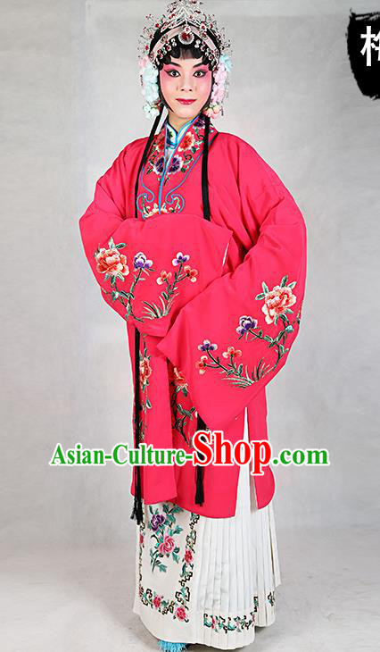 Chinese Beijing Opera Actress Embroidered Peony Rosy Costume, Traditional China Peking Opera Diva Embroidery Clothing