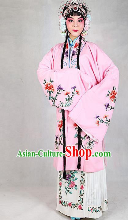 Chinese Beijing Opera Actress Embroidered Peony Pink Costume, Traditional China Peking Opera Diva Embroidery Clothing