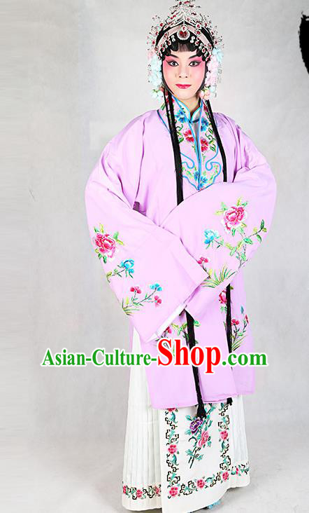 Chinese Beijing Opera Actress Embroidered Peony Lilac Costume, Traditional China Peking Opera Diva Embroidery Clothing