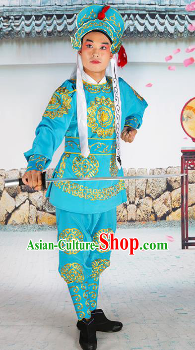 Chinese Beijing Opera Takefu Embroidered Blue Costume, China Peking Opera Warriors Embroidery Clothing