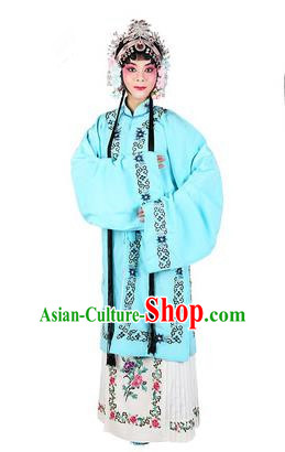 Chinese Beijing Opera Actress Costume Embroidered Light Blue Cape, Traditional China Peking Opera Nobility Lady Embroidery Clothing
