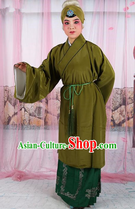 Chinese Beijing Opera Old Women Costume Deep Green Cape, Traditional China Peking Opera Pantaloon Clothing