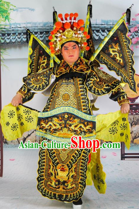 Chinese Beijing Opera General Costume Black Embroidered Robe, China Peking Opera Warrior Embroidery Gwanbok Clothing