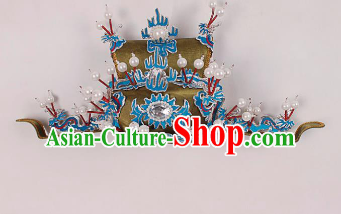Asian Chinese Beijing Opera Prime Minister Hat, Traditional China Peking Opera Chancellor Hats Headwear