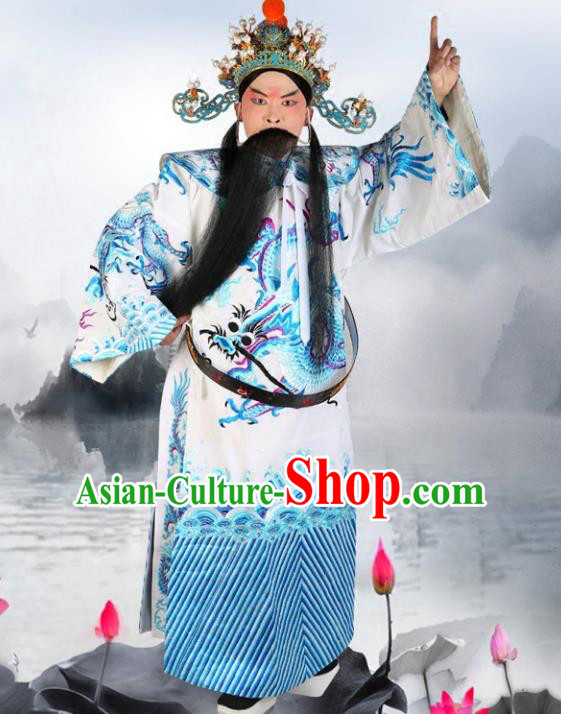 Chinese Beijing Opera Royal Highness Costume White Embroidered Robe, China Peking Opera Prime Minister Embroidery Gwanbok Clothing
