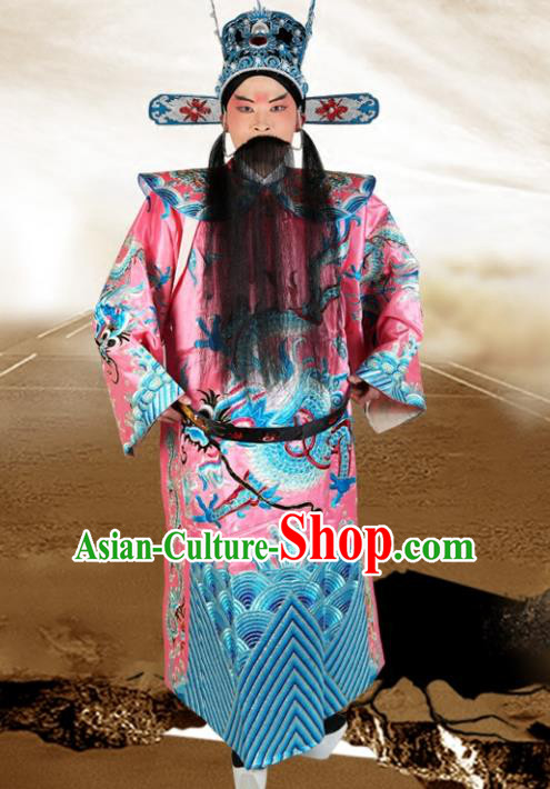 Chinese Beijing Opera Royal Highness Costume Pink Embroidered Robe, China Peking Opera Prime Minister Embroidery Gwanbok Clothing